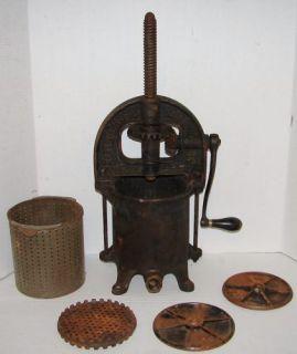 Antique Enterprise 4qt Cast Iron Sausage Stuffer Fruit Press Juicer