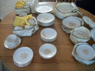 63 Piece Lot Golden Wheat 22K Gold Oven Proof China Dinnerware Homer
