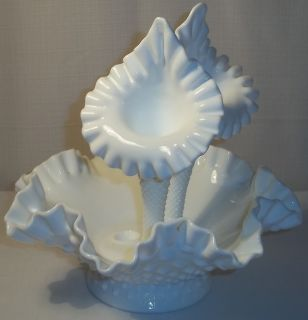 Fenton White Milk Glass Hobnail Epergne with Two Trumpets or Horns