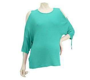 LOGO by Lori Goldstein Cold Shoulder Knit Top with Ruching GREEN