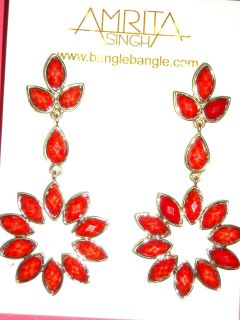 Amrita Singh Greenport Earrings Coral New with Tags Color of The