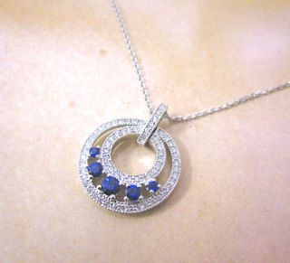 Bankruptcy 78 Off Best Quality 18K White Gold Diamond Sapphire Pendant