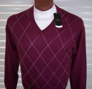 Greg Norman Golf V Neck Long Sleeve Sweater Sz XL Maroon White