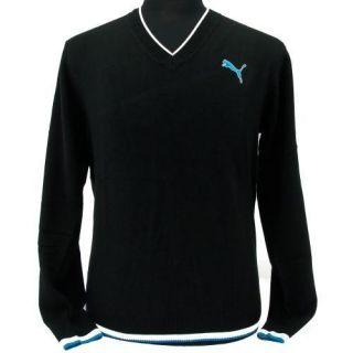 New Puma Mens Golf V Neck Sweater Black