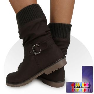 S2V Womens Ladies Sock Fashion Buckle Biker Trendy Flat Ankle Boots