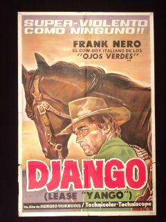 DJANGO * WESTERN * FRANCO NERO * GINO PERNICE * ARGENTINE 1sh MOVIE