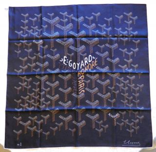 Authentic Goyard Silk Chevron Pattern Scarf Black Ed Bergdorf Brand