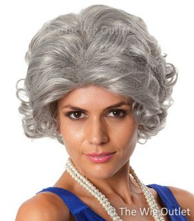 Grey Queen Old Lady Wig Nanna Granny Grandma Fancy Dress Costume