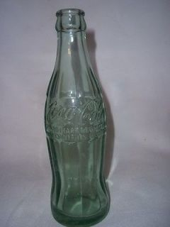 COCA COLA BOTTLE BLUE GLASS MACON MISSOURI 6 OZ SODA BOTTLE js