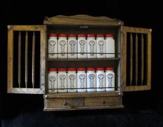 Vtg Art Deco Griffiths Griffiths Milk Glass Redtop Spice Jars Wood
