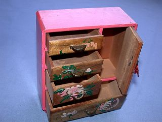 Vintage 1955 Hand Painted Wood Jewelry Box