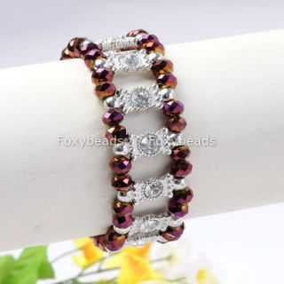 Purple Crystal Glass Rhinestone Bead Cuff Bracelet 7L