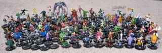 Golden Age Heroclix Lot 159 Figures w Cards DC Marvel