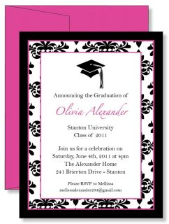 Personalized Pink Damask Graduation Announcement Invitations Any Color