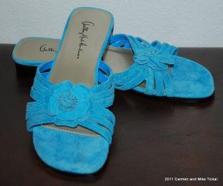 Anthony Mark Hankins Sky Blue Slides w Flower Sz 7 5