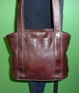 Vintage Graffeo Brown Leather Tote Shopper Shoulder Bag Purse