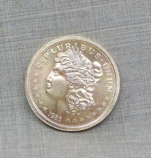 1985 1 Troy Ounce 999 Silver Morgan Head Round