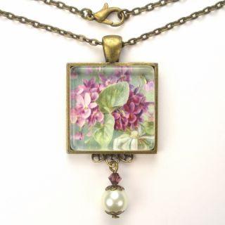 Posy Art Glass Pendant Brass Necklace Vintage Charm Jewelry