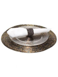 Antique Gold Glass Bead Round Luster Table Place Mat Placemats