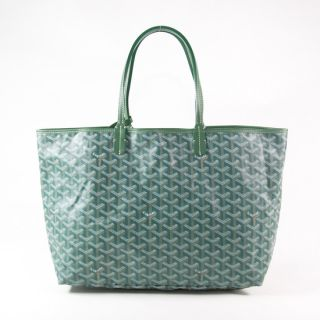 Authentic Goyard Green Canvas Chevron Coated Canvas St. Louis PM