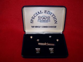 USAF U S AIR FORCE Hap Arnold cuff links buttons tie bar for mess