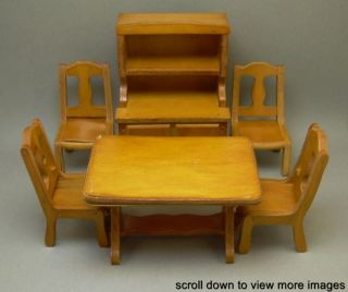 PC Vintage Grand Rapids Furniture Co Wood Dollhouse Table Chair