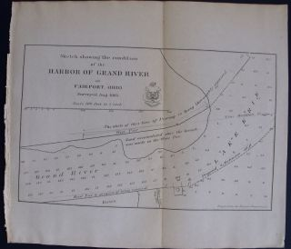 1866 ANTIQUE MAP: HARBOR OF GRAND RIVER AT FAIRPORT OHIO OH. SOUNDINGS