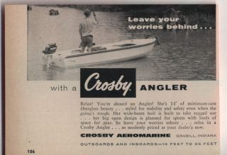 1959 Vintage Ad Crosby Angler Fiberglass Boats Grabill Indiana