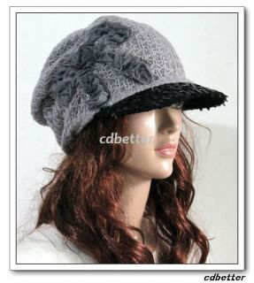 Womens Lady Grace Fabric Soft Style Black Bling Brim Gray Hats Caps