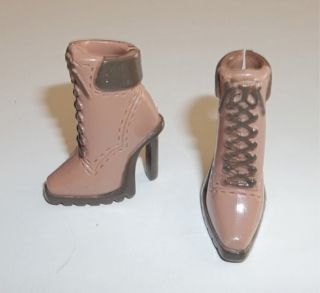 Brown Short Granny Ankle High Heel Boots 9 Bratz Doll Shoes