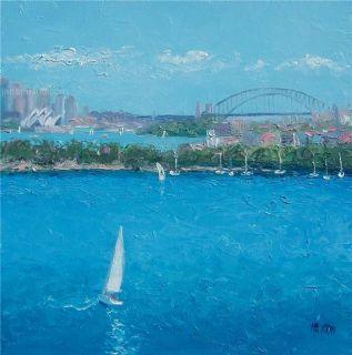 Sydney Harbour Beach Painting Sailing Art Original Oil by Matson