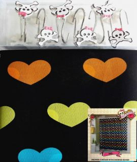Pink Cookie Hearts Shower Curtain Skull Hooks Bath Set New