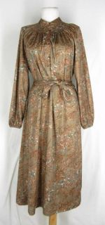Vtg Hal Hardin Belted Brown Floral Print Shirt Dress 14 M L Stretch
