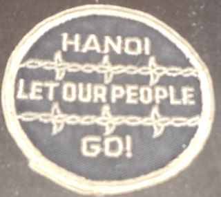 1970s Vietnam War Era Patch Hanoi Let Our Peope Go pow MIA Barbed Wire
