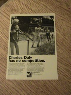 1966 CHARLES DALY ADVERTISEMENT SHOTGUN AD MEN LADY BW