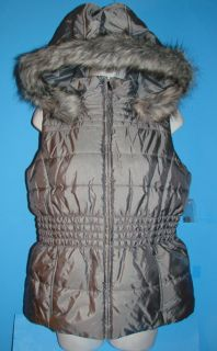 New New York Company Gray Puffer Vest Faux Fur Removable Hood M