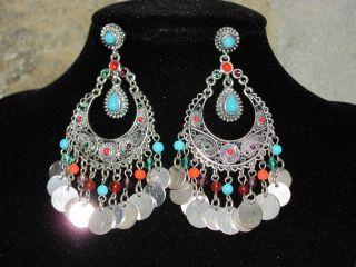 Graziano Big Southwestern Silver Tone Turquoise Coral Colors Dangle
