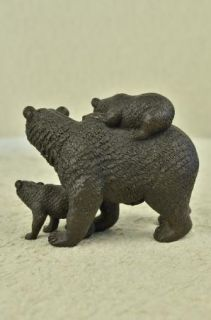 Grizzly Black Bear Wildlife Lodge Cottage Art Bronze Marble Statue