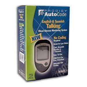 Prodigy Autocode Talking Blood Glucose Meter Kit English Spanish