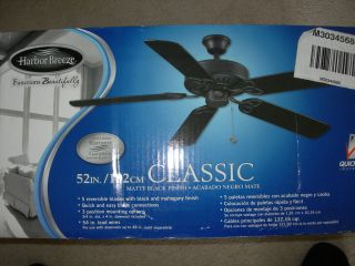 Awesome NIB Harbor Breeze Ceiling fan. 52in Classic Black Matte finish