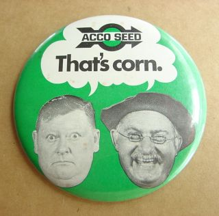 ACCO SEED CORN HEE HAW Jr. Samples & Grandpa Jones Pinback Button Sign
