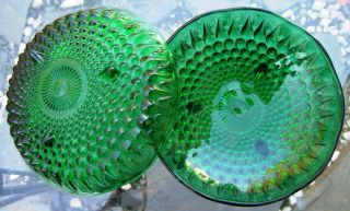 Vtg Glass Anchor Hocking Forest Green Hobnail Bowls Set of 2