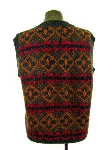 Mens Green Fair Isle Iceland Fuzzy Wool V Neck Sweater Vest Pullover
