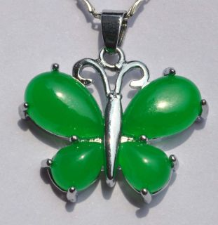 Chinese Handwork Green Jade Silver Plated Pendant Necklace