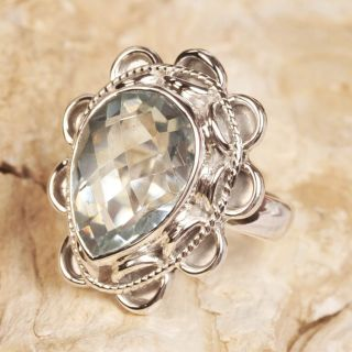 925 Sterling Silver Green Quartz Gemstone Ring Size 9
