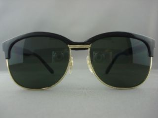 50s Vintage Green Lens Black Gold Sunglasses 4 Men 112B