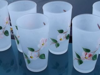 Antique Hand Painted Beverage Glasses Set of Six