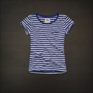 Hollister by Abercrombie womens Classic Stripe Graphic Tee T Shirt NWT