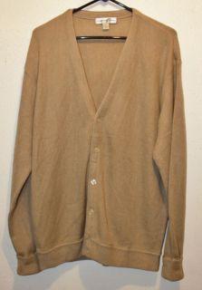 Mens Cypress Links Beige Tan Cardigan Sweater L New Preppy