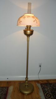 RARE Antique Aladdin Model B Floor Kerosene Lamp w Shade Chimney